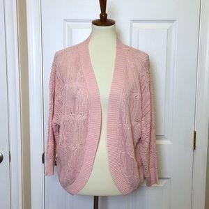 NWT BB DAKOTA Pink Open Weave Open Front Cardigan